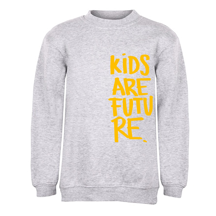 Kids are future_detska mikina_seda